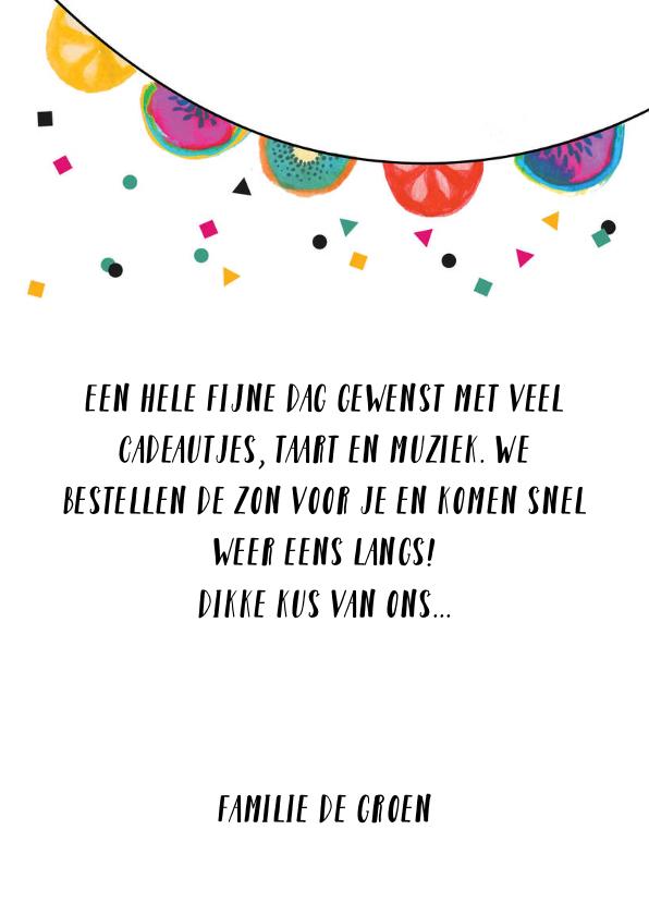 Verjaardagskaart fruit slingers en confetti 3