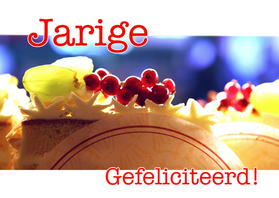 Verjaardagskaarten - Verjaardagskaart Gebakje Blauw