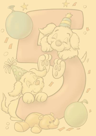 Verjaardagskaart hondjes cijfer vijf 2