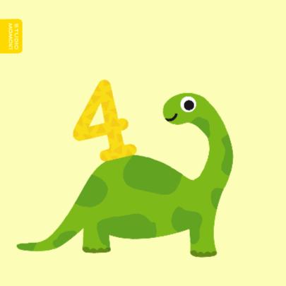 Verjaardagskaart jongen - 4 jaar dinosaurus 2