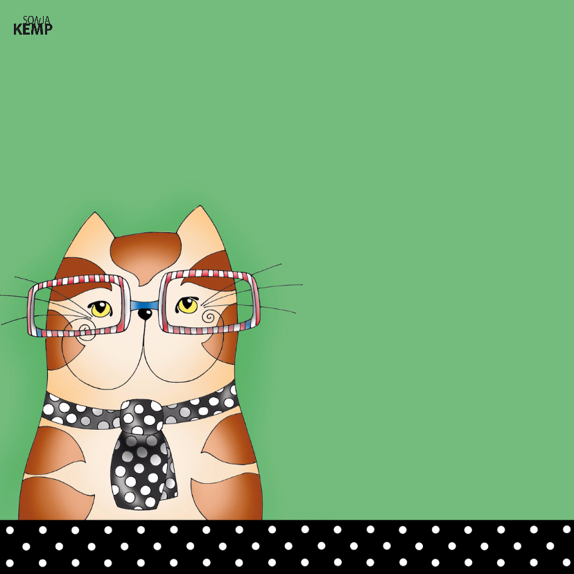 Verjaardagskaart Kat met stropdas - SK 2