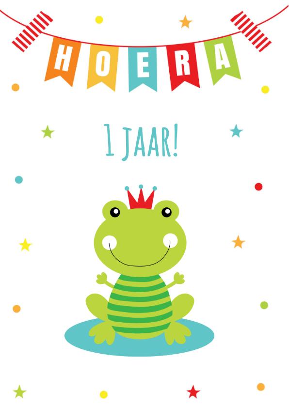 Verjaardagskaart kikker slinger confetti 2