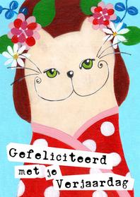 Verjaardagskaarten - Verjaardagskaart kleurrijke kat