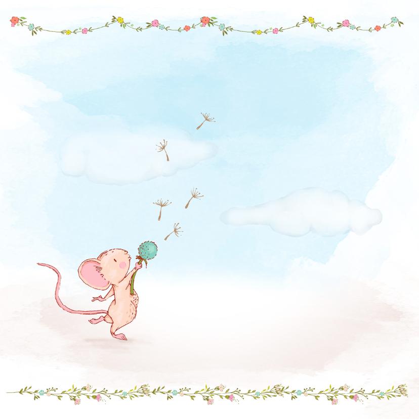 Verjaardagskaart lentebloemen-muisjes 2