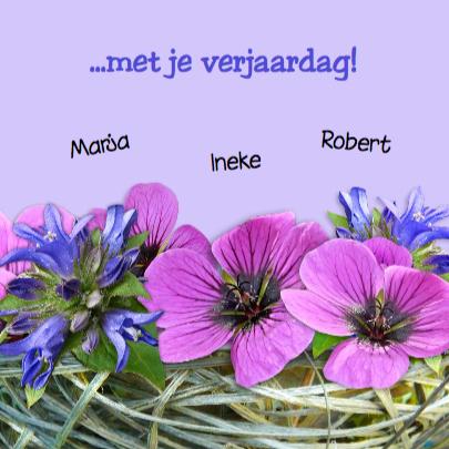 Verjaardagskaart lila bloemen 3