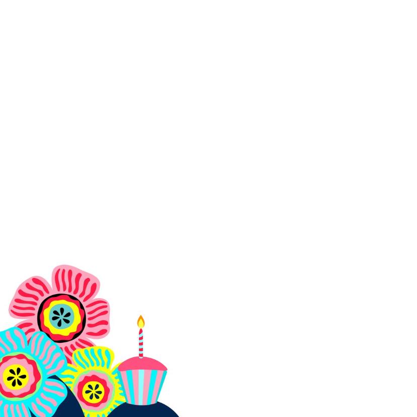 Verjaardagskaart luiaard, slingers en bloemen 2