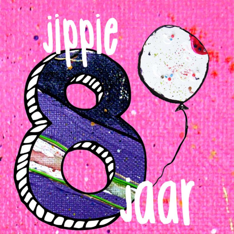 Verjaardagskaart meisje 8 jaar verjaardagskaarten for Poppenhuis kind 2 jaar
