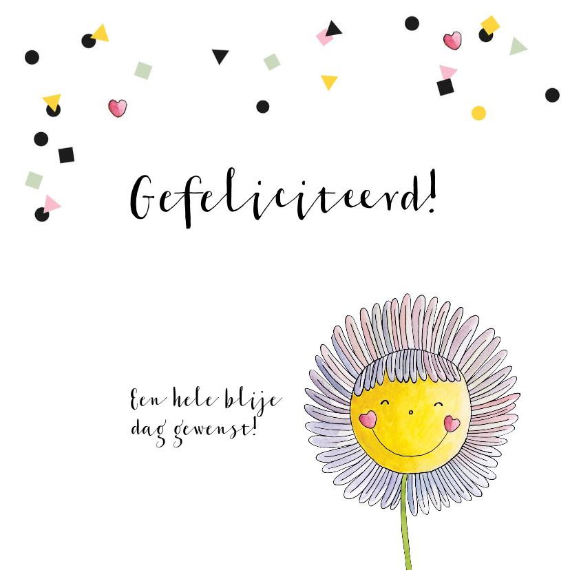 Verjaardagskaart meisje getekende bloem en confetti 2
