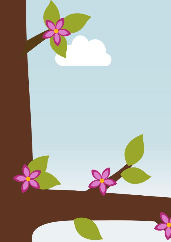 Verjaardagskaart meisje vogel in boom - DD 2