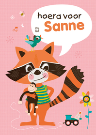 Verjaardagskaarten - Verjaardagskaart meisje wasbeer