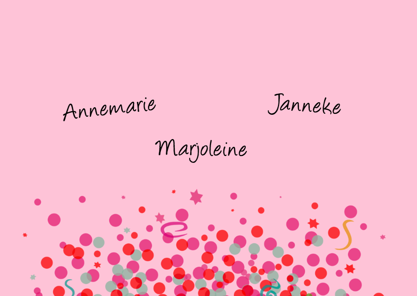 Verjaardagskaart met Confetti op roze ondergrond 3