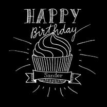 Verjaardagskaarten - Verjaardagskaart met cupcake SW