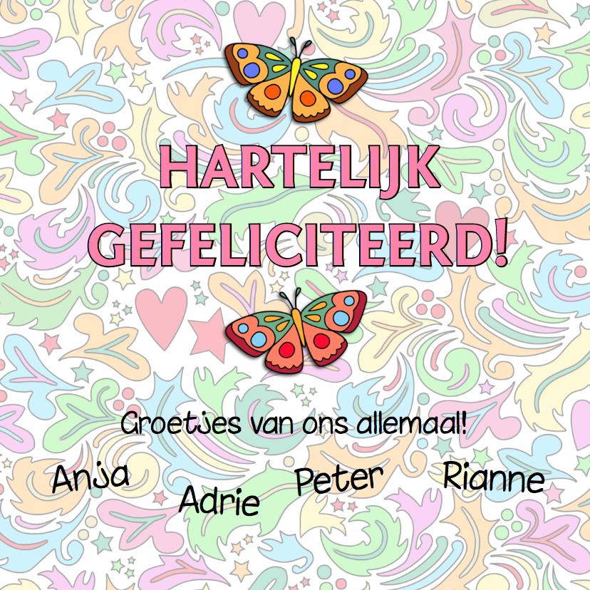 Verjaardagskaart met hart en vlinders op kleurige ondergrond 3