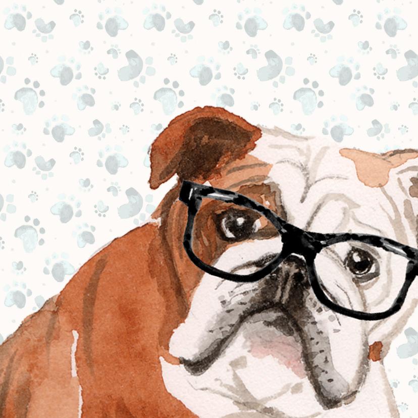 Verjaardagskaart met hond in leunstoel 2