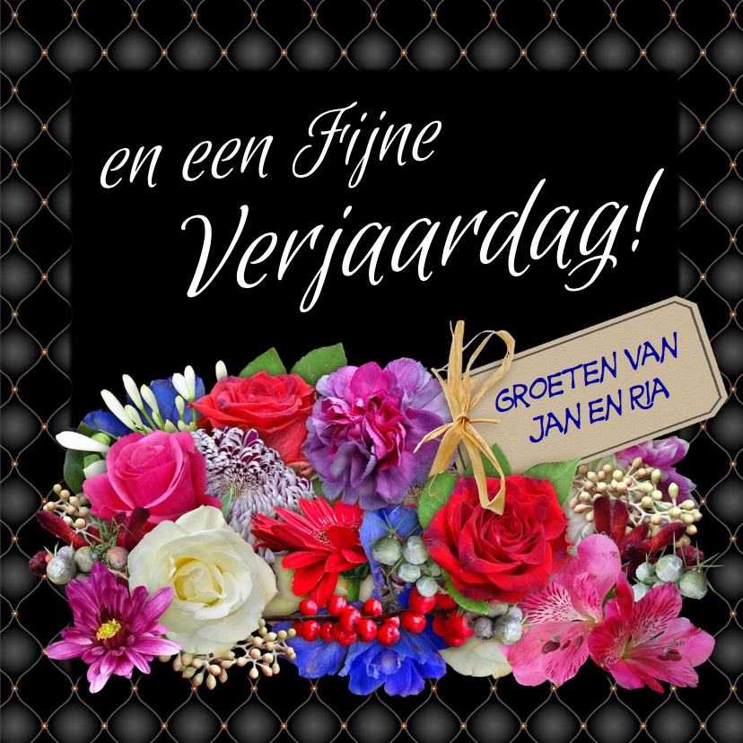 Verjaardagskaart met mooi kader en bos kleurige bloemen 3