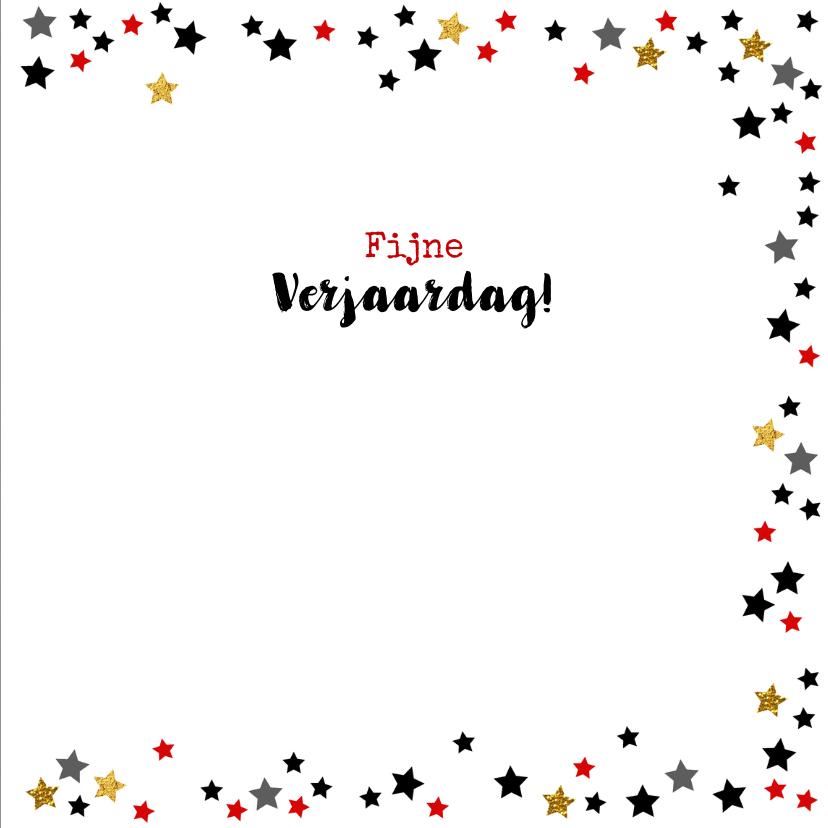 Verjaardagskaart met naam krijtbord en sterren 3