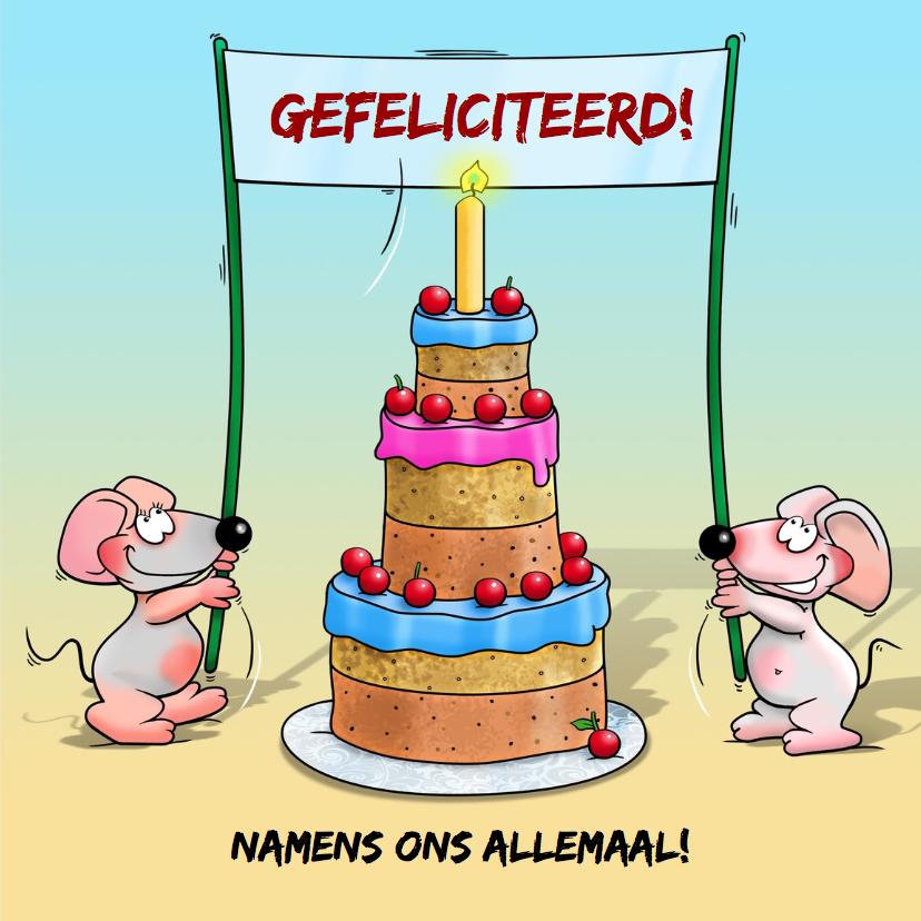 Verjaardagskaart met olifant, taart en 2 muisjes 3