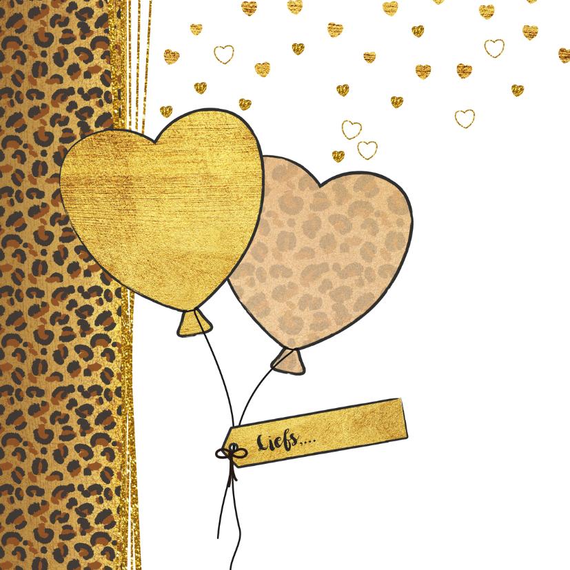 Verjaardagskaart met panterprint  en hartjes ballonnen 2