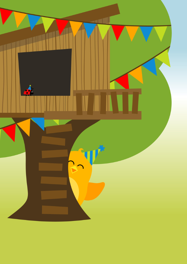 verjaardagskaart met vrolijk oranje vogeltje in boomhut 2