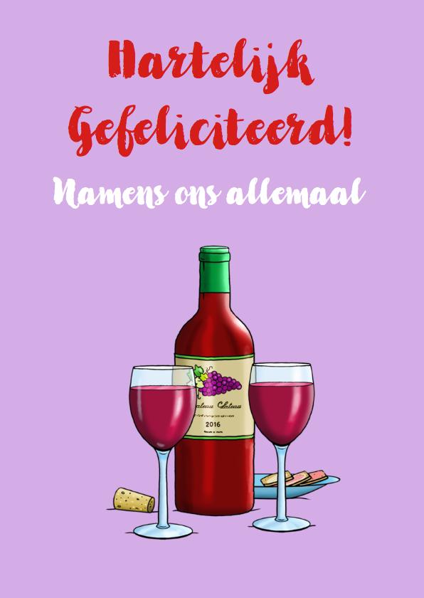 Verjaardagskaart met vrouw en fles wijn 3