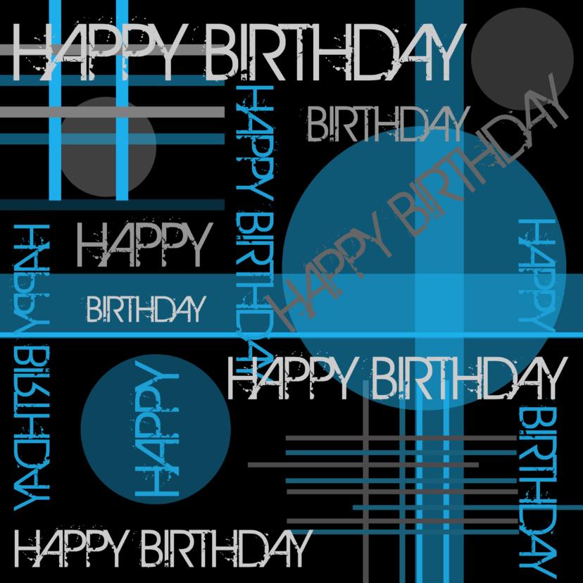 Verjaardagskaart modern typografie blauw 2