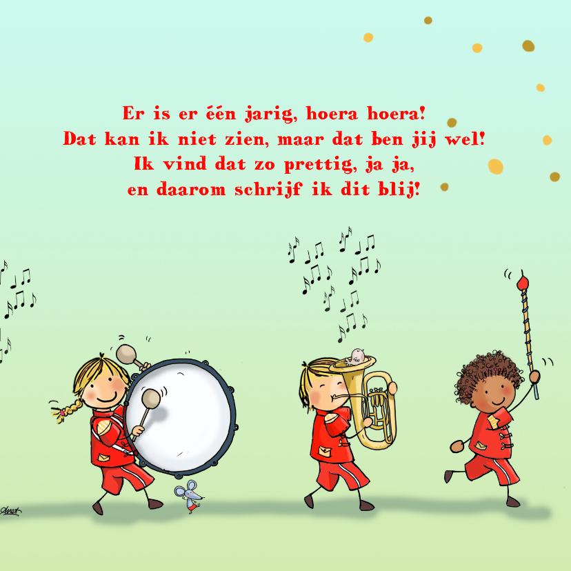 Verjaardagskaart orkest rood av 3