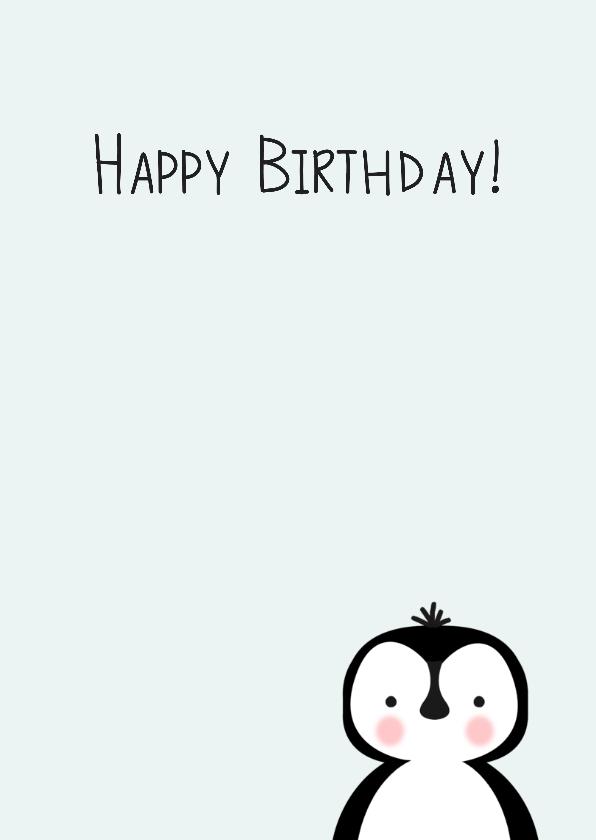 Verjaardagskaart pinguin, aanpasbare kleur - WW 3