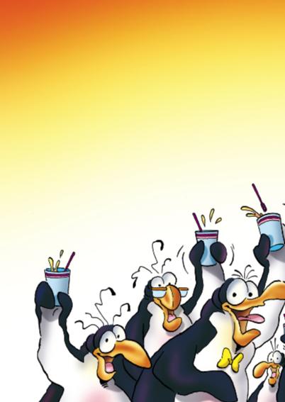 Verjaardagskaart pinguin verjaardag op kantoor 2