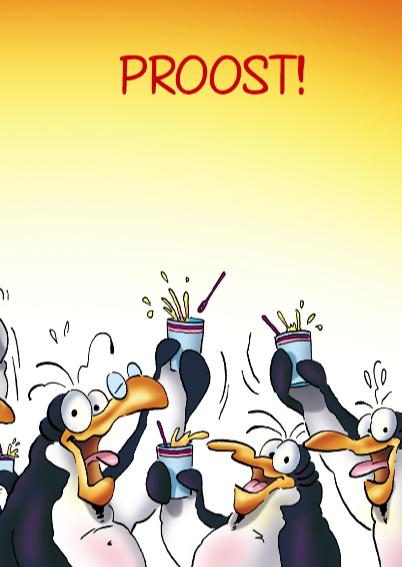 Verjaardagskaart pinguin verjaardag op kantoor 3