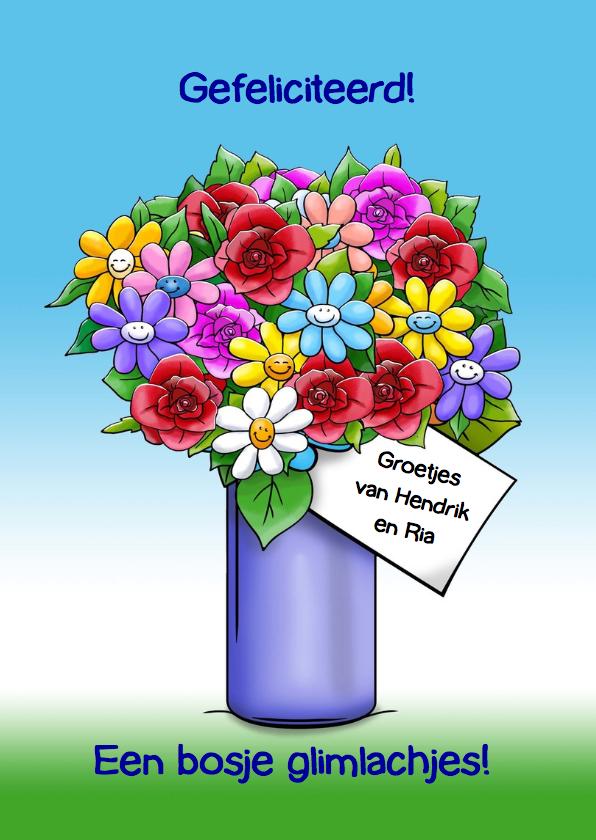 Verjaardagskaart poes met 2 kleurrijke bossen bloemen 3