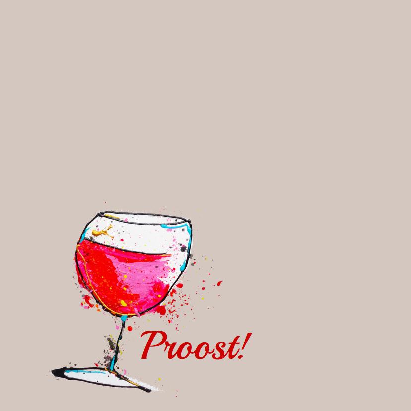 Verjaardagskaart Proost wijntje 2
