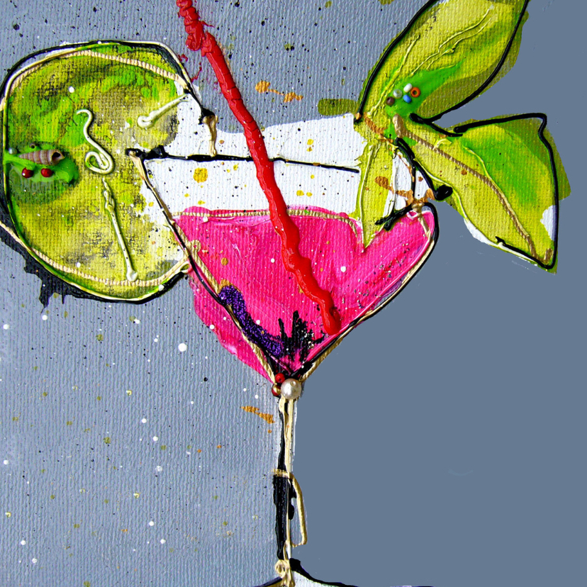 Verjaardagskaart roze cocktail 2
