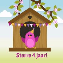 Verjaardagskaarten - verjaardagskaart roze vogeltje in vogelhuisje - DD