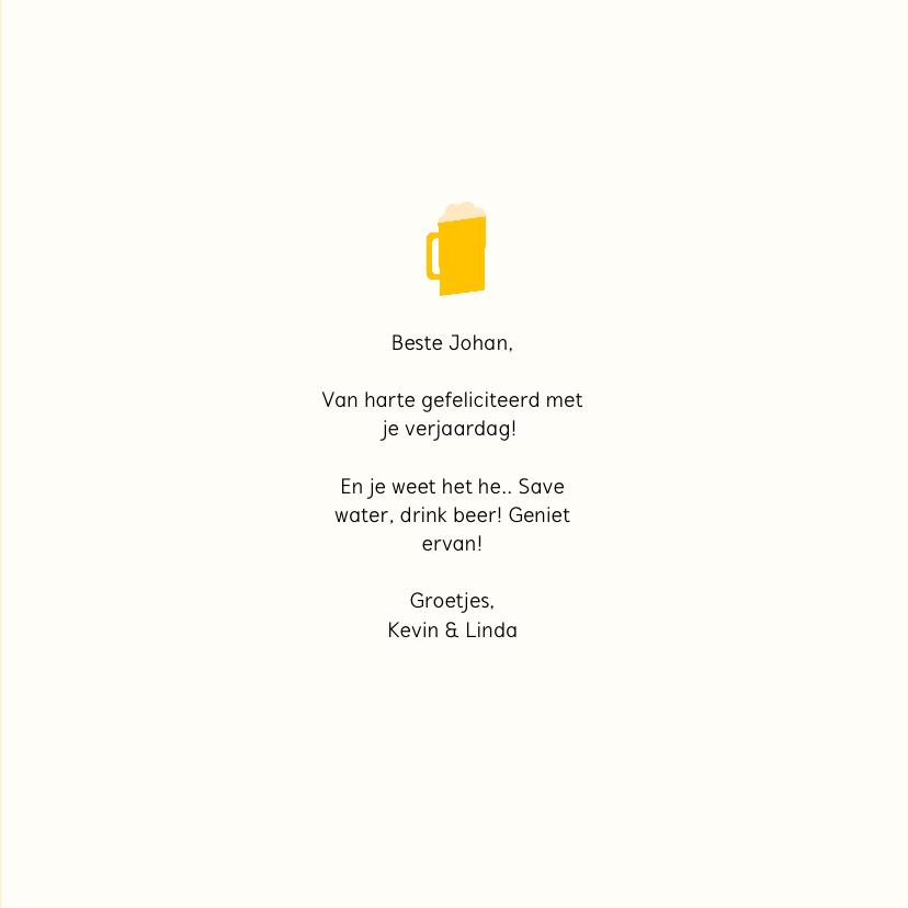 Verjaardagskaart 'Save water, drink beer' 3