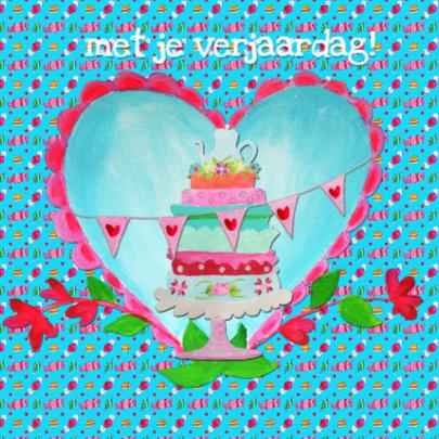Verjaardagskaart Snoeptaart PA 2