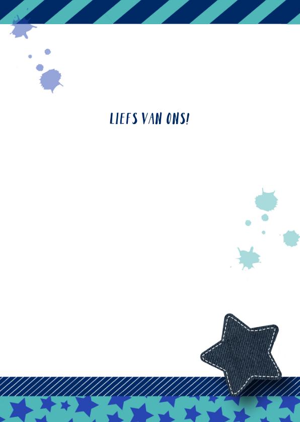 Verjaardagskaart stoer sterren blauw en groen 3