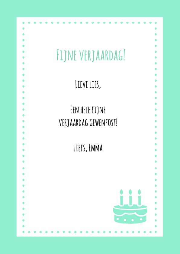 Verjaardagskaart Taart  Hip 3