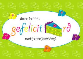 Verjaardagskaarten - Verjaardagskaart taart - SZ