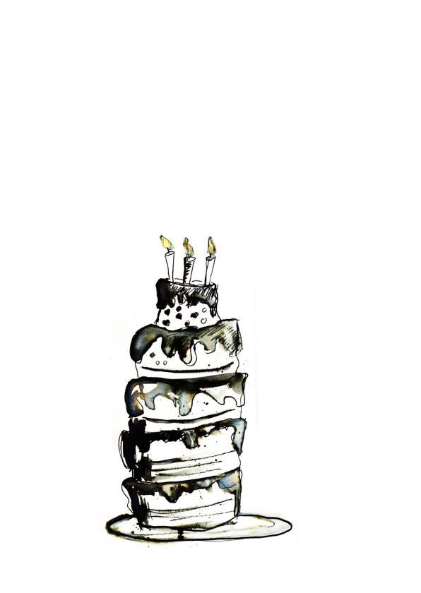 Verjaardagskaart taart zwart wit 2