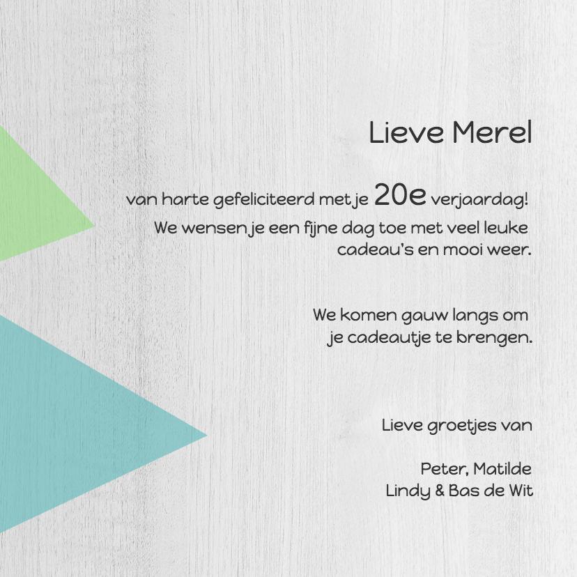 Verjaardagskaart van harte geometrisch en hout - DH 3