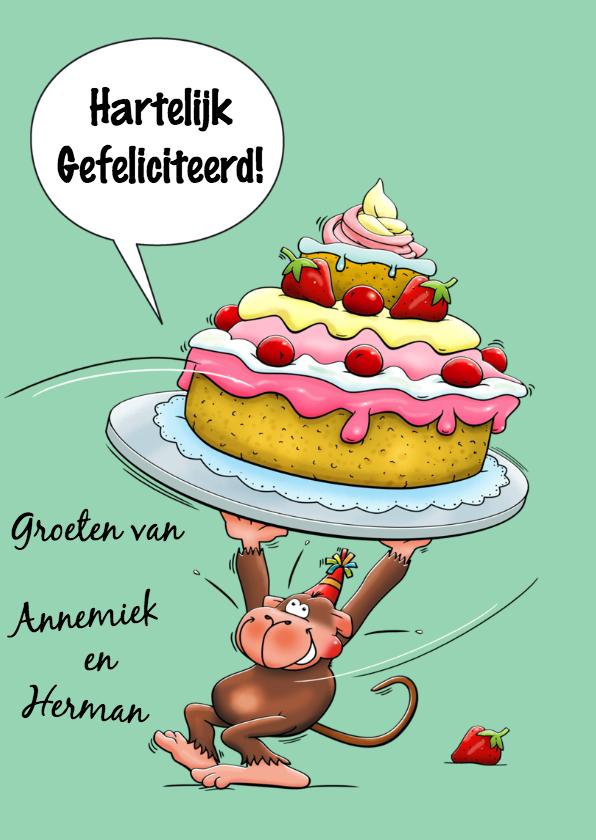 Verjaardagskaart verbaasde aap met hele grote taart 3