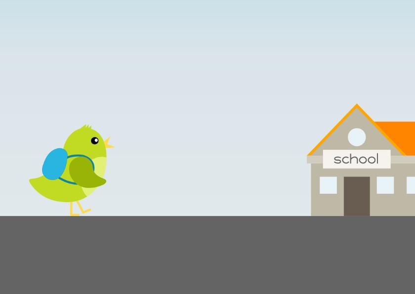 verjaardagskaart vogel jongen gaat naar school - DD 3