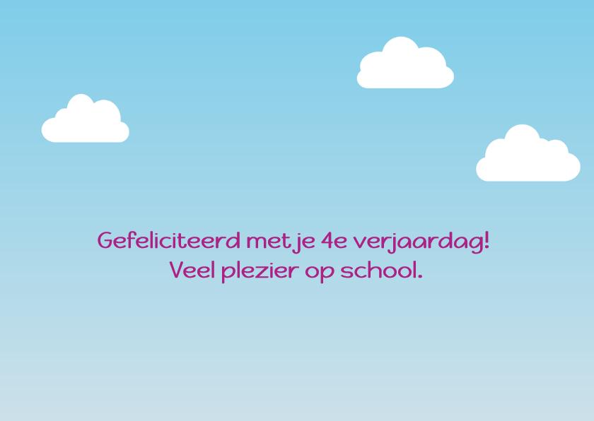verjaardagskaart vogel meisje gaat naar school - DD 2