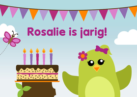 Verjaardagskaarten - Verjaardagskaart vogel met taart meisje - DD