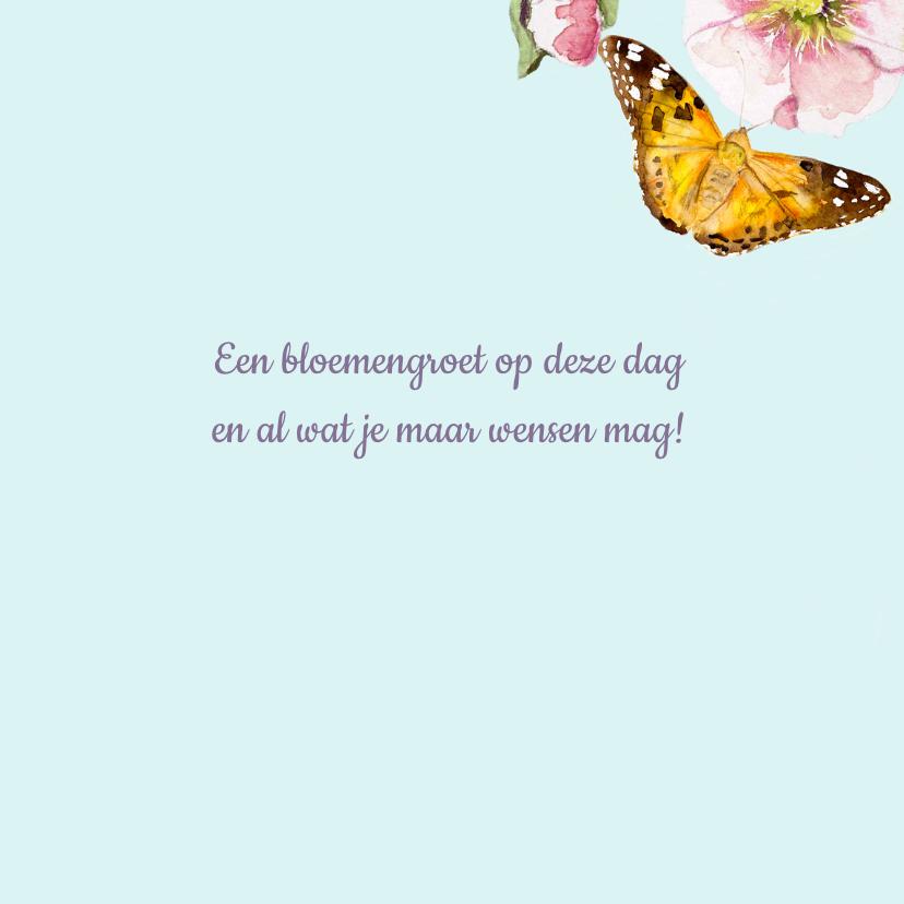 Verjaardagskaart Vrolijke bloemen vlinders 3