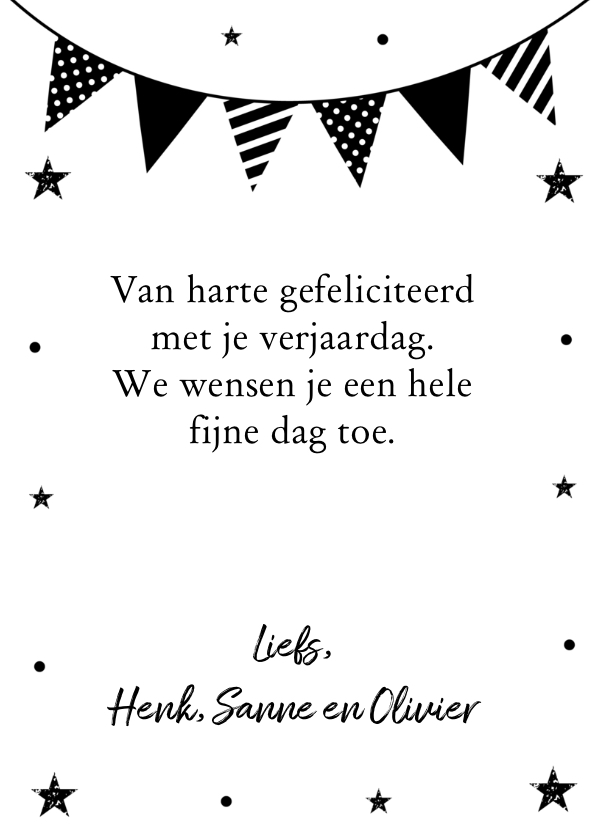 Verjaardagskaart zwart wit slinger confetti 3