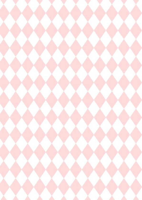 Verjaardagskaartje roze ruit -WW 2