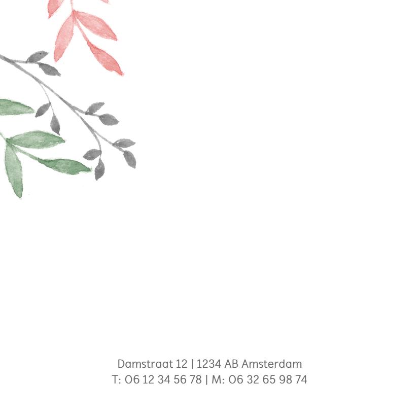 Vierkant geboortekaartje met groene en roze takjes 2