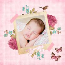 Geboortekaartjes - Vintage Geboortekaartje Cato