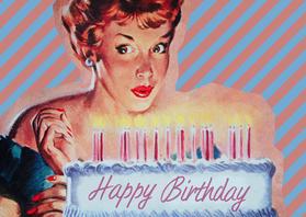 Verjaardagskaarten - Vintage Happy Birthday cake